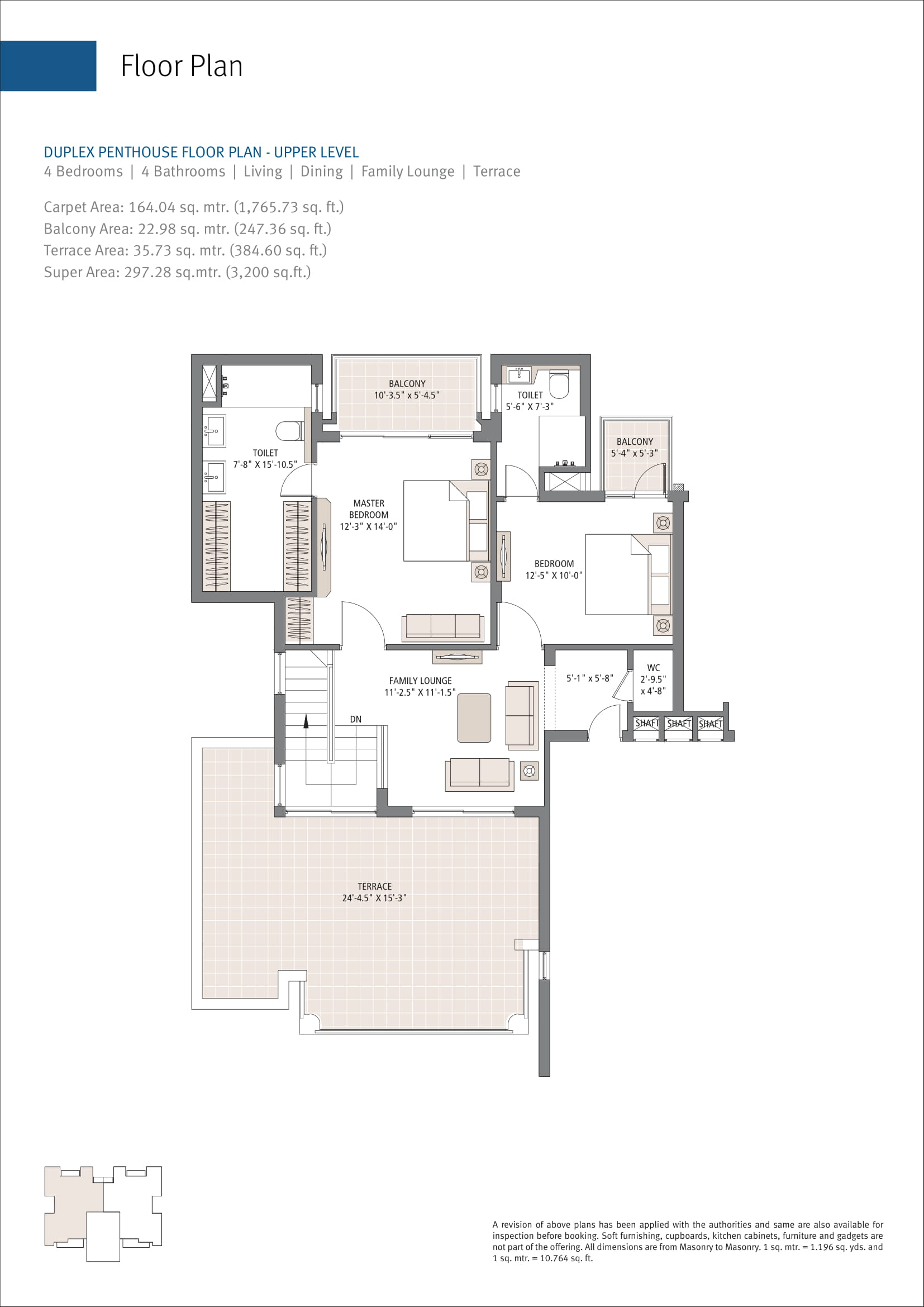 Emaar MGF Gurgaon Greens 4 BHK duplex Penthouse Lower Level Floor plan 3200 Sqft