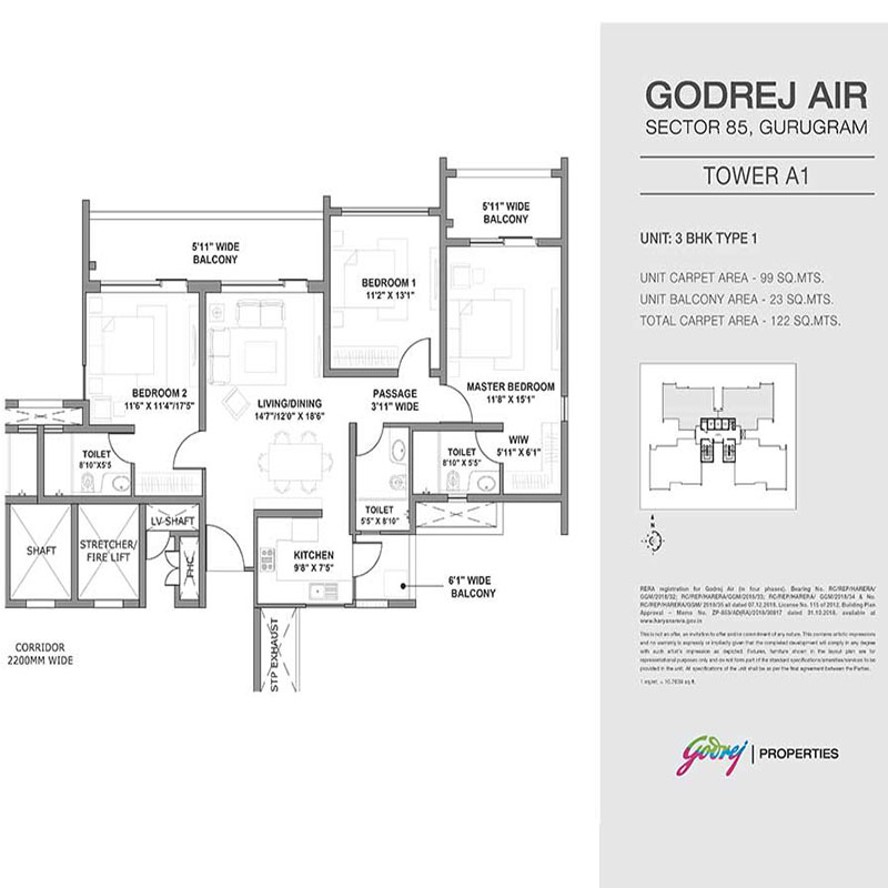 Godrej Air 3 BHK Floor Plan 120 sq.mts.