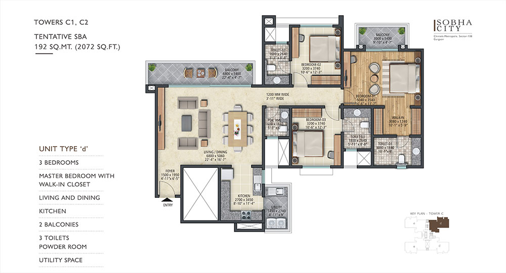 Sobha City Gurgaon Towers C1,C2 3 BHK 2072 Sqft floor Plan